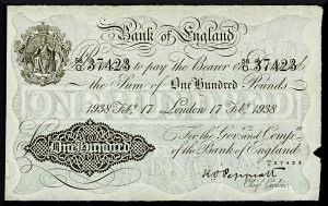 Bank of England one hundred pound note, 1938