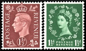 British stamps from 1937 and 1952