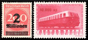 Stamps from Germany 1923, Hungary 1946