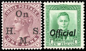 One Arna stamp from India, 1883 and one pence stamp from New Zealand, 1941